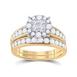 1 & 3/8 CTW Princess Diamond Bridal Wedding Engagement Ring 14kt Yellow Gold - REF-113K9R