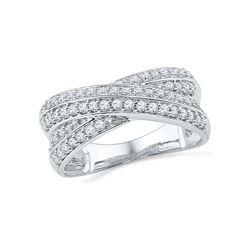 1/2 CTW Round Diamond Crossover Ring 10kt White Gold - REF-41F9M