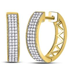 1/3 CTW Round Diamond Triple Row Pave Hoop Earrings 10kt Yellow Gold - REF-26Y3X