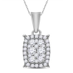 1/4 CTW Round Diamond Rectangle Cluster Pendant 14kt White Gold - REF-20X3T