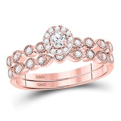 1/3 CTW Round Diamond Stackable Bridal Wedding Engagement Ring 10kt Rose Gold - REF-39K3R