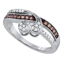1/4 CTW Round Brown Diamond Heart Ring 10kt White Gold - REF-21K5R