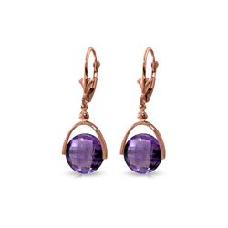 Genuine 6.5 ctw Amethyst Earrings 14KT Rose Gold - REF-43Y4F