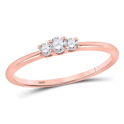 1/6 CTW Round Diamond 3-stone Promise Bridal Ring 10kt Rose Gold - REF-16Y8X