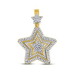 1 & 3/4 CTW Mens Round Diamond Concentric Star Charm Pendant 10kt Yellow Gold - REF-92A3N