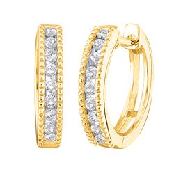 1/4 CTW Round Diamond Milgrain Hoop Earrings 10kt Yellow Gold - REF-21T5K