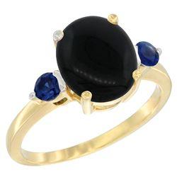 1.79 CTW Onyx & Blue Sapphire Ring 14K Yellow Gold - REF-30W3F