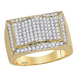 1 & 1/3 CTW Mens Round Diamond Rectangle Domed Cluster Ring 10kt Yellow Gold - REF-120Y3X