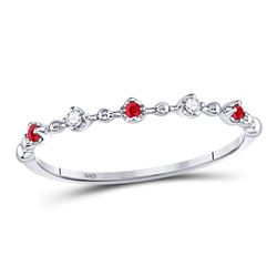 1/20 CTW Round Ruby Diamond Beaded Stackable Ring 10kt White Gold - REF-9R3H