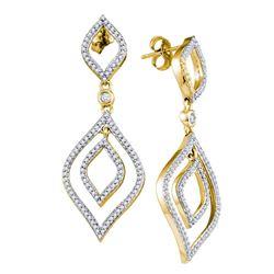 3/4 CTW Round Diamond Dangle Earrings 10kt Yellow Gold - REF-41Y9X