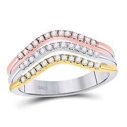1/4 CTW Round Diamond Triple Row Ring 10kt Tri-Tone Gold - REF-33F3M