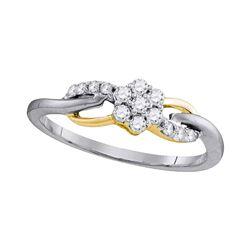 1/4 CTW Round Diamond Flower Cluster Infinity Ring 10kt White Gold - REF-19X2T