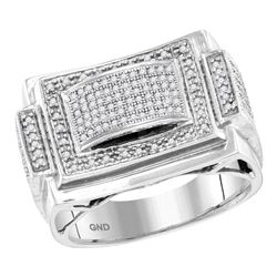 1/2 CTW Mens Round Diamond Domed Rectangle Frame Cluster Ring 10kt White Gold - REF-47M9A