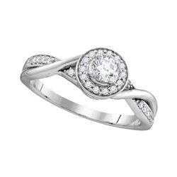 1/3 CTW Round Diamond Solitaire Twist Bridal Wedding Engagement Ring 10kt White Gold - REF-38H4W