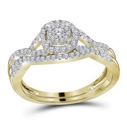 1/2 CTW Round Diamond Bridal Wedding Engagement Ring 14kt Yellow Gold - REF-54K3R