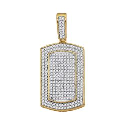 7/8 CTW Mens Round Diamond Framed Dog Tag Cluster Charm Pendant 10kt Yellow Gold - REF-58A8N