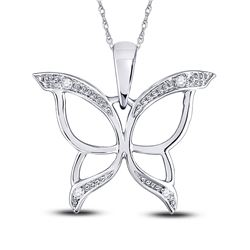 0.03 CTW Round Diamond Butterfly Bug Wings Pendant 10kt White Gold - REF-4A2N