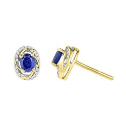 1/8 CTW Oval Lab-Created Blue Sapphire Diamond Stud Earrings 10kt Yellow Gold - REF-15R5H