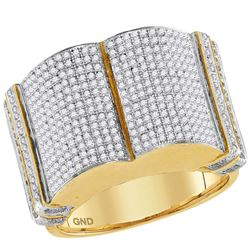 1 & 1/5 CTW Mens Round Diamond Symmetrical Rounded Cluster Ring 10kt Yellow Gold - REF-65W9F