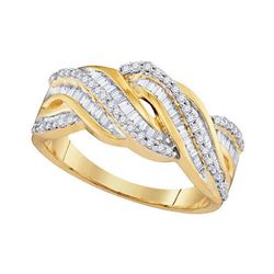 1/2 CTW Round Baguette Diamond Twist Ring 10kt Yellow Gold - REF-31H5W