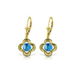 Genuine 1.10 ctw Blue Topaz Earrings 14KT Yellow Gold - REF-37X7M