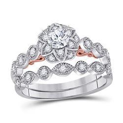3/4 CTW Round Diamond Lotus Bridal Wedding Ring 14kt Two-tone Gold - REF-95K9R