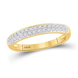 1/4 CTW Round Pave-set Diamond Double Row Wedding Ring 14kt Yellow Gold - REF-33W3F