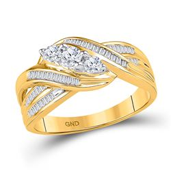 1/2 CTW Round Baguette Diamond 3-Stone Crossover Ring 10kt Yellow Gold - REF-39Y6X