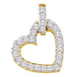 1/4 CTW Round Diamond Small Dangling Heart Pendant 14kt Yellow Gold - REF-20R3H