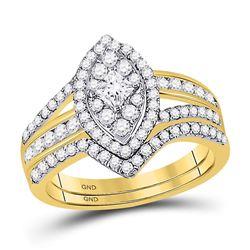 1 CTW Princess Diamond Oval Bridal Wedding Engagement Ring 14kt Yellow Gold - REF-83X9T