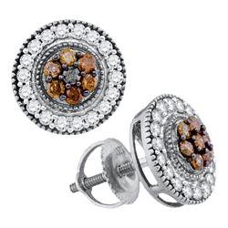 5/8 CTW Round Brown Diamond Cluster Stud Screwback Earrings 10kt White Gold - REF-26N3Y