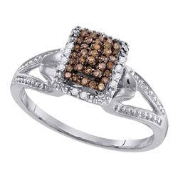 1/5 CTW Round Brown Diamond Cluster Ring 10kt White Gold - REF-14F4M