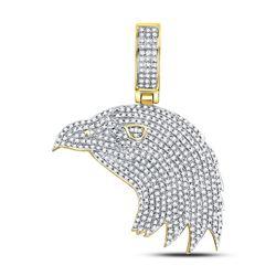 1 CTW Mens Round Diamond Eagle Head Charm Pendant 10kt Yellow Gold - REF-69R3H