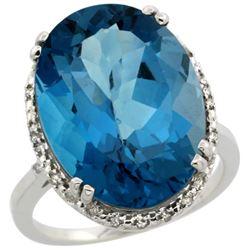 13.71 CTW London Blue Topaz & Diamond Ring 10K White Gold - REF-54R3H
