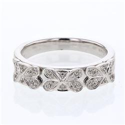 0.13 CTW Diamond Band Ring 14K White Gold - REF-35X2R