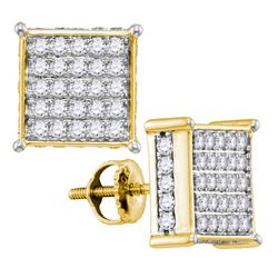 1 CTW Round Diamond Square Earrings 10kt Yellow Gold - REF-57Y3X