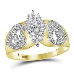 1/8 CTW Round Diamond Oval Cluster Love Heart Ring 10kt Two-tone Yellow Gold - REF-16K8R