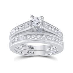 1 CTW Princess Diamond Bridal Wedding Engagement Ring 14kt White Gold - REF-117M3A