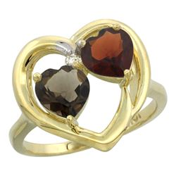 2.61 CTW Diamond, Quartz & Garnet Ring 14K Yellow Gold - REF-33W9F
