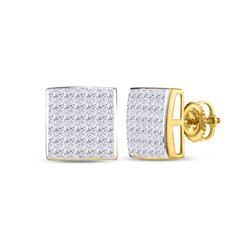 1 CTW Princess Diamond Square Earrings 14kt Yellow Gold - REF-60N3Y