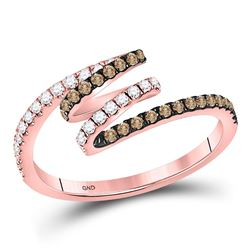 1/3 CTW Round Brown Diamond Spiral Coil Ring 14kt Rose Gold - REF-27M5A