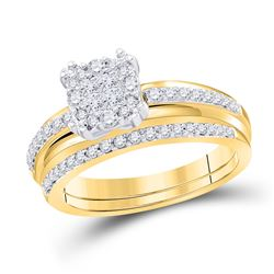 1/2 CTW Princess Diamond Bridal Wedding Engagement Ring 14kt Yellow Gold - REF-71W9F