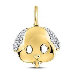 1/12 CTW Round Diamond Puppy Dog Emoji Animal Pendant 10kt Yellow Gold - REF-10N8Y