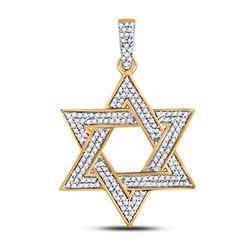 1/2 CTW Mens Round Diamond Magen Star of David Charm Pendant 10kt Yellow Gold - REF-26H3W