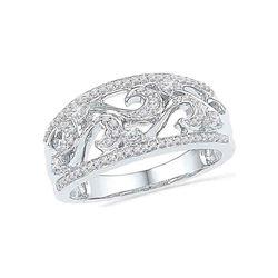 1/3 CTW Round Diamond Filigree Ring 10kt White Gold - REF-30Y3X