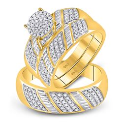 1/2 CTW His & Hers Round Diamond Cluster Matching Bridal Wedding Ring 10kt Yellow Gold - REF-45N6Y