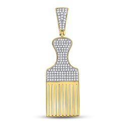 1/2 CTW Mens Round Diamond Afro Hair Pick Charm Pendant 10kt Yellow Gold - REF-33H3W