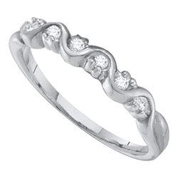 1/10 CTW Round Diamond Wavy Ring 10kt White Gold - REF-9F6M