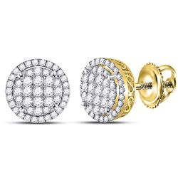 1 & 1/4 CTW Round Diamond Circle Frame Cluster Earrings 14kt Yellow Gold - REF-95X9T