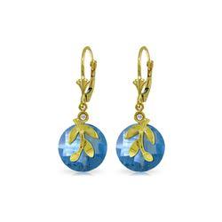Genuine 10.63 ctw Blue Topaz & Diamond Earrings 14KT Yellow Gold - REF-44A7K